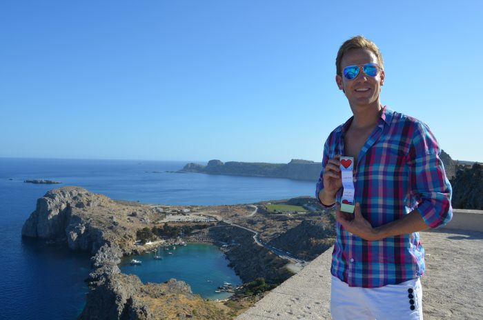 Marriage Proposal Ideas in St. Paul's Heart Shaped Bay in Lindos, Greece