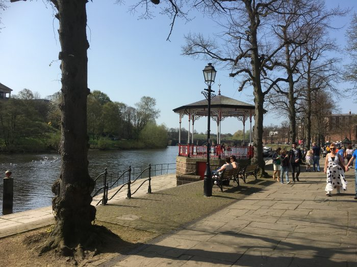 Rebecca and Alex's Engagement in Under the band stand in Chester on the river Dee