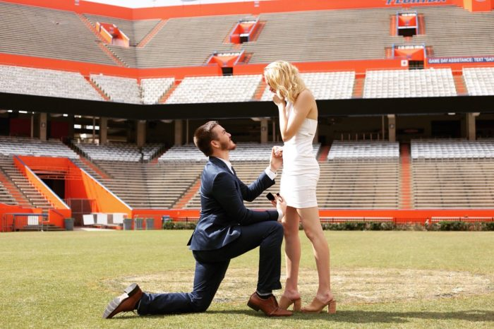 Grace's Proposal in The center of the UF football field at Ben Hill Griffin Stadium.
