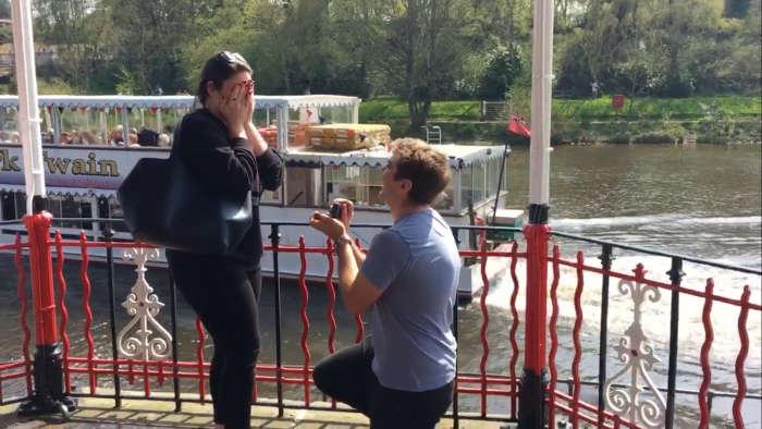 Engagement Proposal Ideas in Under the band stand in Chester on the river Dee
