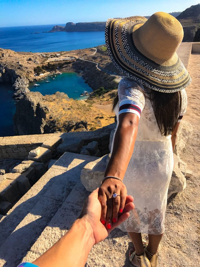 Revenda and Markus's Engagement in St. Paul's Heart Shaped Bay in Lindos, Greece