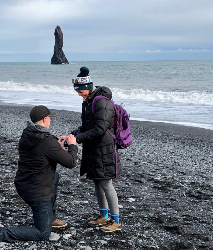 Lindsay's Proposal in Black Sand Beach in Vik, Iceland