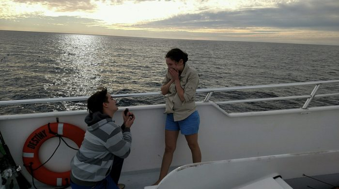 Crystal and Garrett's Engagement in Destin, Florida on a deep sea fishing boat