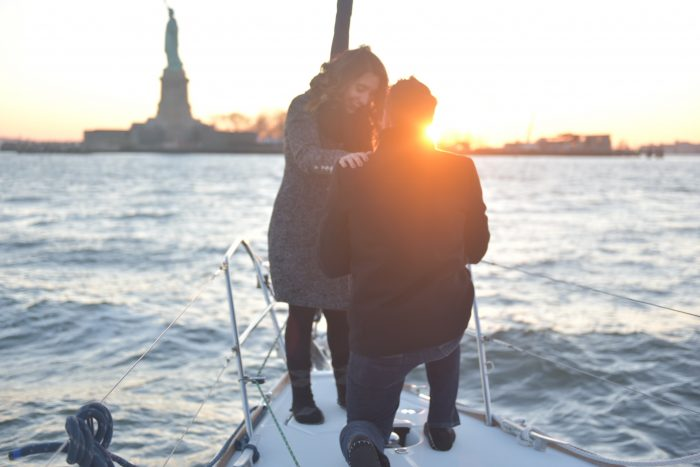 Alyssa's Proposal in On a sailboat in the Hudson River in front of The Statue of Liberty