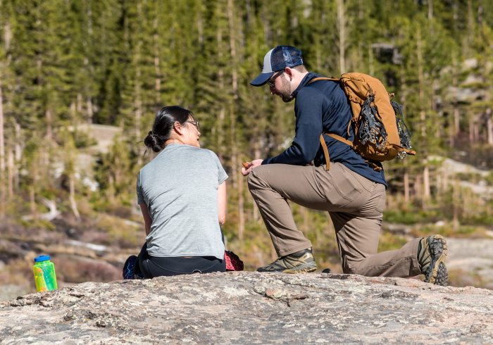 Chris's Proposal in Mills Lake inside Rocky Mountain National Park Colorado