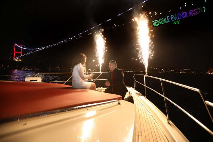Elmaz and Reyhan's Engagement in On a yacht in Istanbul