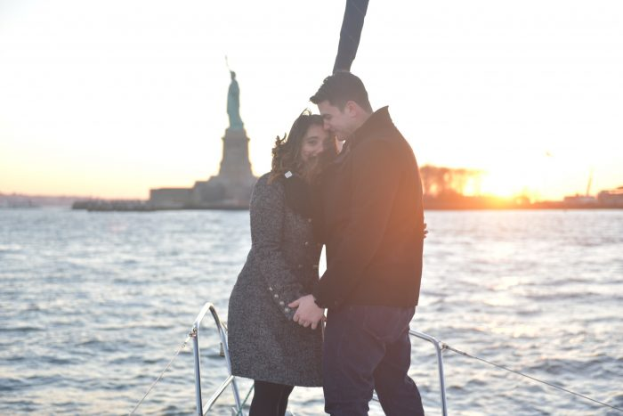 Wedding Proposal Ideas in On a sailboat in the Hudson River in front of The Statue of Liberty