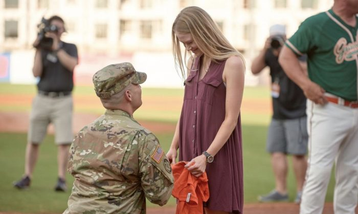 Maddison's Proposal in Greensboro Grasshoppers Game
