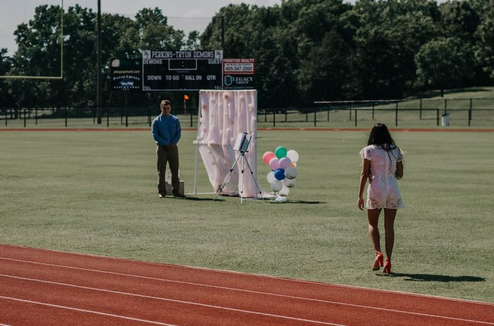 Engagement Proposal Ideas in The highschool football field where we both went to highschool at in Perkins, Oklahoma