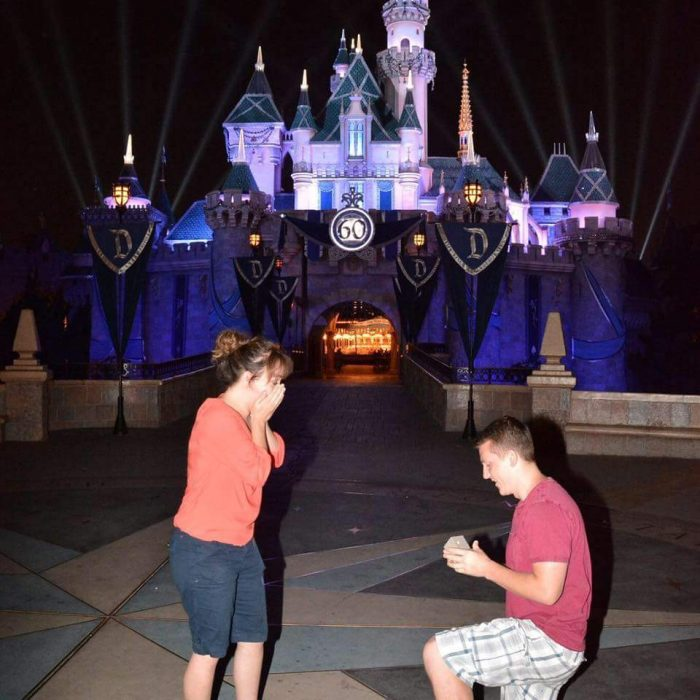 Engagement Proposal Ideas in Right in front of the Disneyland castle