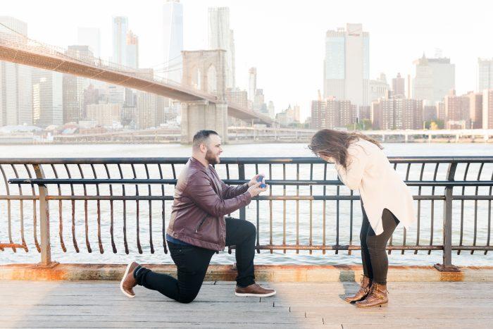 Valentina and Jonathan's Engagement in Brooklyn Bridge, New York