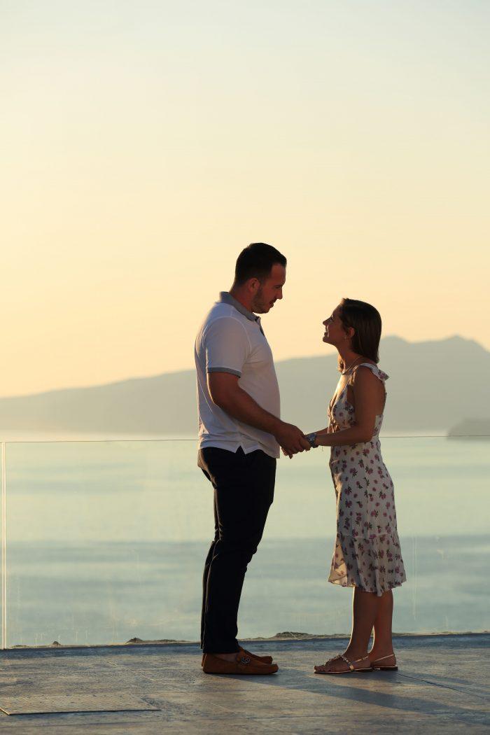 Chetti's Proposal in Santorini , Greece