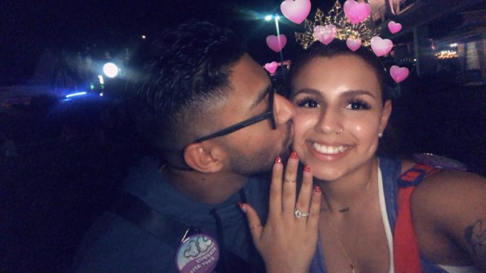 Victoria and Jermiah's Engagement in Disney's Magic Kingdom in front of Cinderella's Castle
