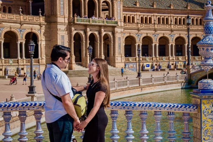 Katy and Amir's Engagement in Plaza de España in Seville, Spain
