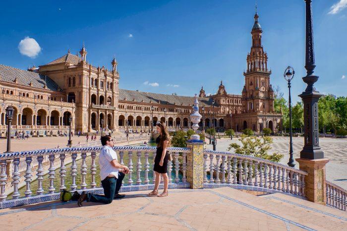Katy's Proposal in Plaza de España in Seville, Spain