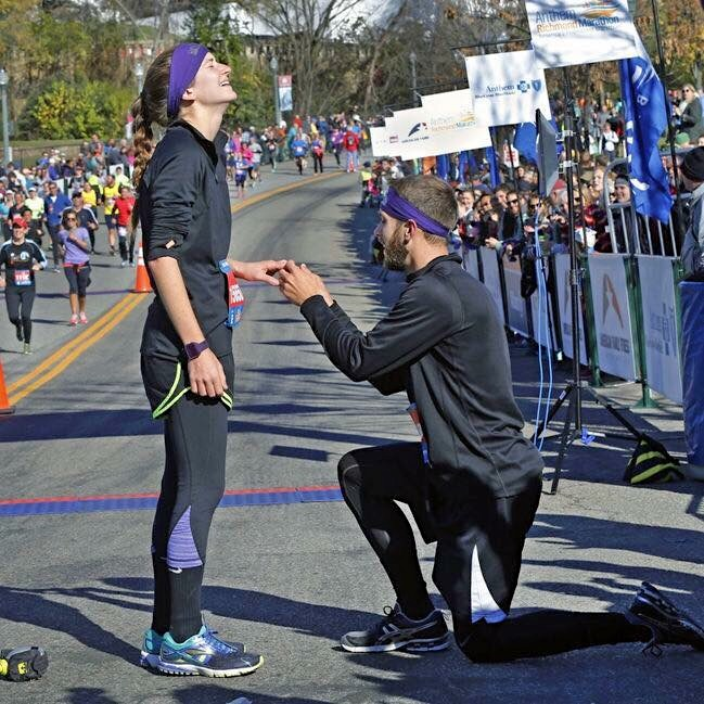 Wedding Proposal Ideas in At the finish line of the Richmond Half Marathon