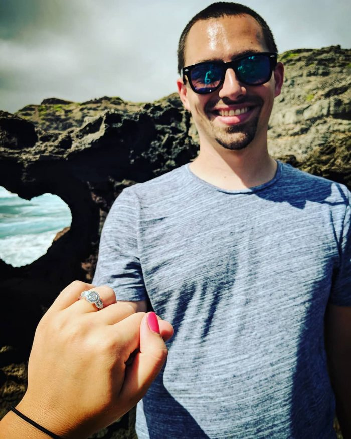 Stephanie and Kyle's Engagement in Heart Shaped Rock at Nakalele Blowhole, Maui, HI