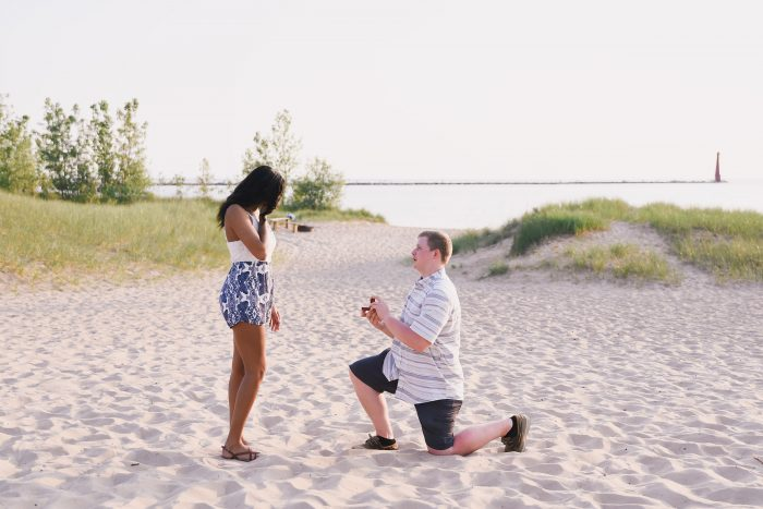 Christy's Proposal in Pere Marquette Beach Muskegon Michigan