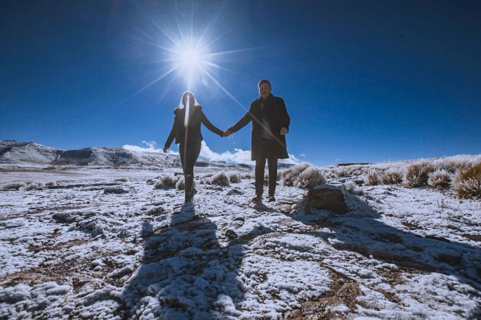 Matt and Kendal's Engagement in In the snowy Lesotho Mountains in Southern Africa