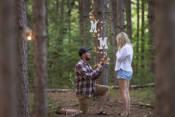 Proposal Ideas In the pine forest behind his cottage ( Deacon, ON.)