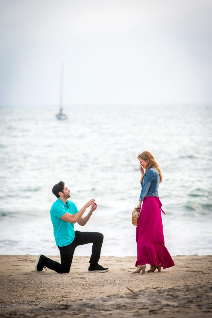 Courtney and Nick's Engagement in Beach in Playa Del Rey near where we live