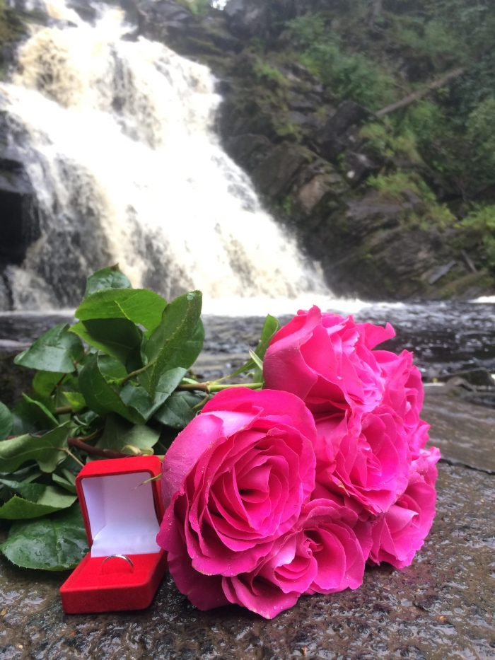 Where to Propose in At the foot of a waterfall