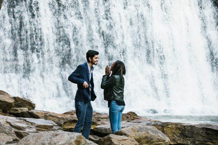 Jasmine and Eduardo's Engagement in Vickery Creek - Roswell, GA