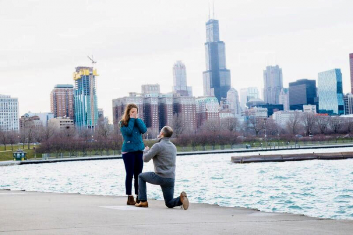 Engagement Proposal Ideas in Along Lake Michigan with the Chicago skyline as the backdrop