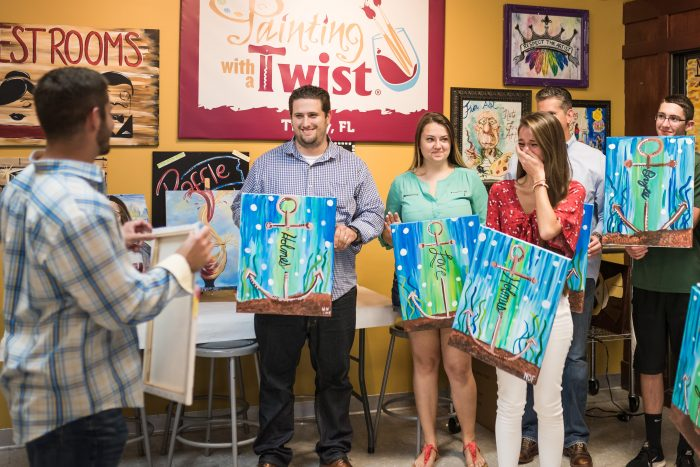 Brandon and Nicole's Engagement in Painting With A Twist in Trinity,Florida