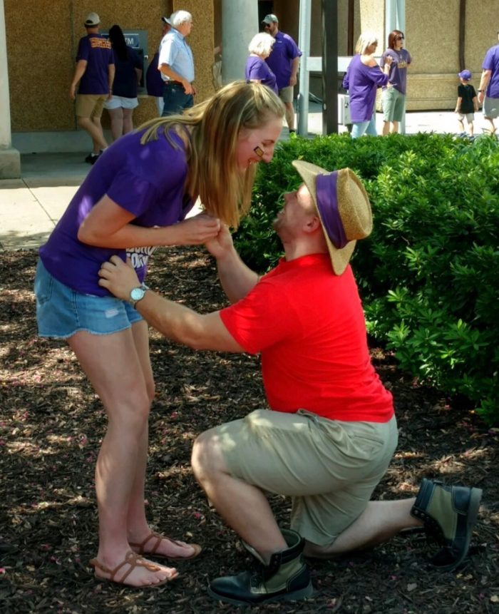 Whitney and Cody's Engagement in Louisiana State University in front of Mike the Tiger's cage