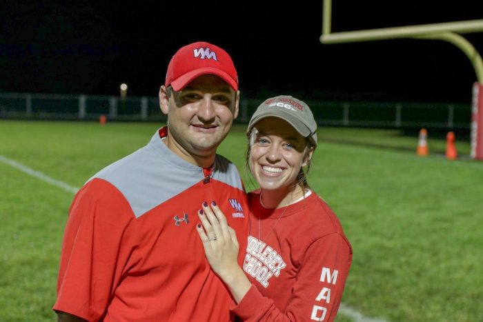 Madeline and Kolten's Engagement in West Middlesex High School after our Alma Mater's Homecoming Gam