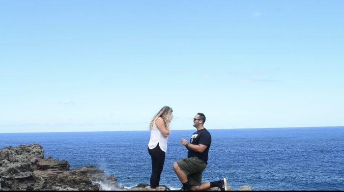 Laura and Stephen's Engagement in Nakalele Blowhole Maui Hawaii