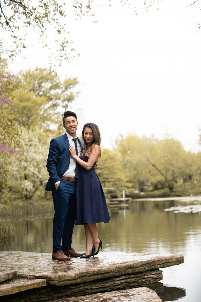 Daniel and AnhDao's Engagement in Alfred Caldwell Lily Pool in Chicago, IL