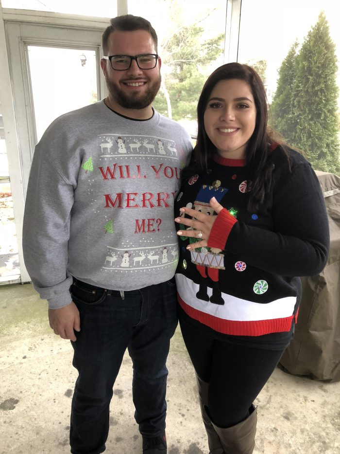 Engagement Proposal Ideas in The brides house during a Christmas cookie baking party