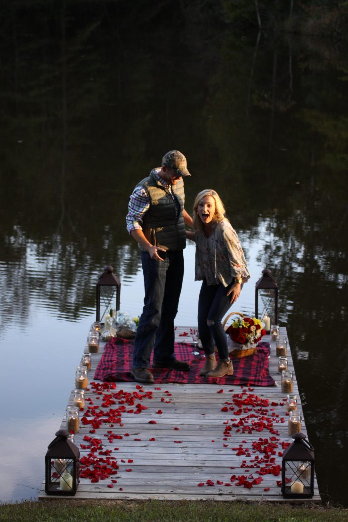 Savanah's Proposal in On the dock of the lake at our friend's cabin!