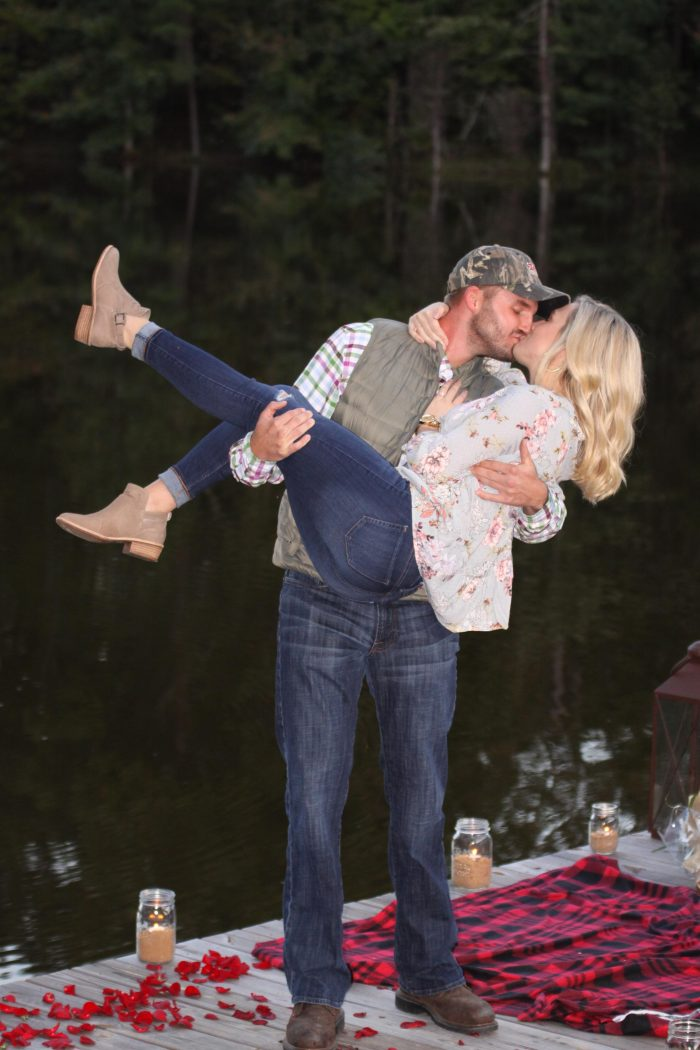 Marriage Proposal Ideas in On the dock of the lake at our friend's cabin!