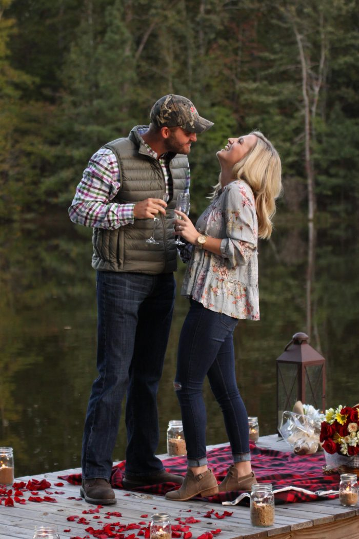 Wedding Proposal Ideas in On the dock of the lake at our friend's cabin!