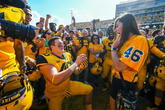 Wedding Proposal Ideas in On the Mountaineer field at the West Virginia vs Kansas college football game