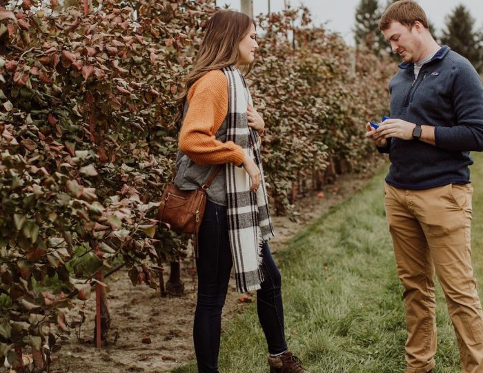 Taylor and Jens's Engagement in Jonamic Orchard, Malta IL