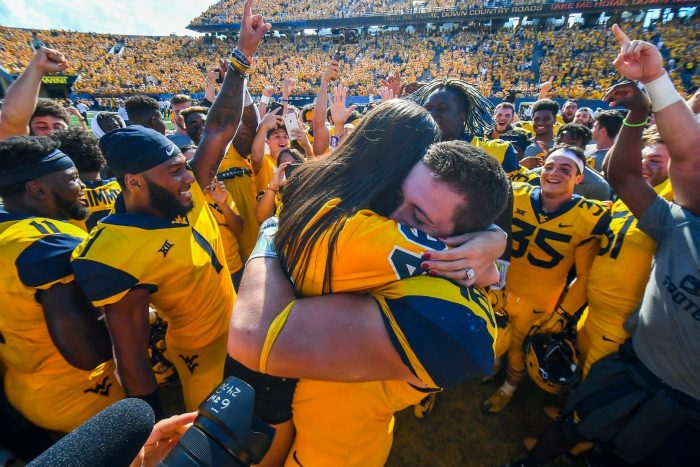 Proposal Ideas On the Mountaineer field at the West Virginia vs Kansas college football game