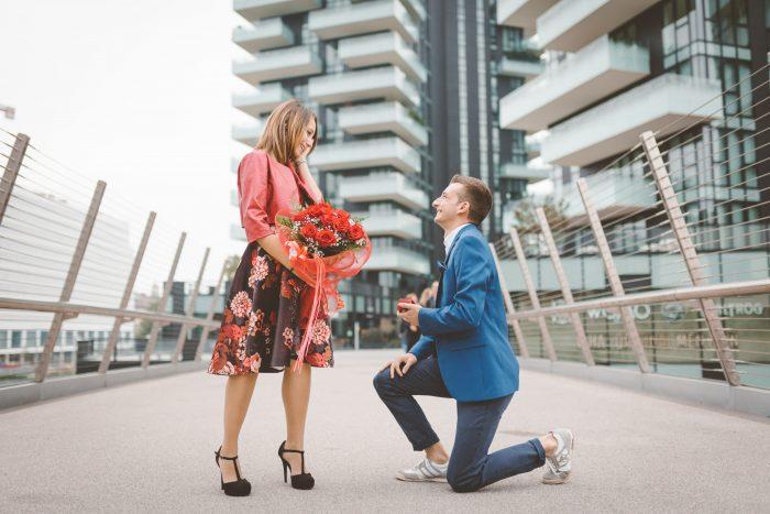 Marta and Dario's Engagement in Piazza Gae Aulenti, Milan (Italy)