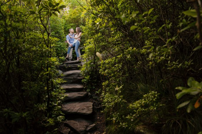 Hiding among the trees for a romantic engagement.