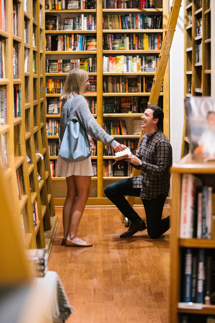 Engagement Proposal Ideas in Our favorite bookstore-Full Circle Bookstore in Oklahoma City, Oklahoma