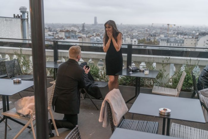 Riannon's Proposal in Terrass Hotel rooftop in Paris