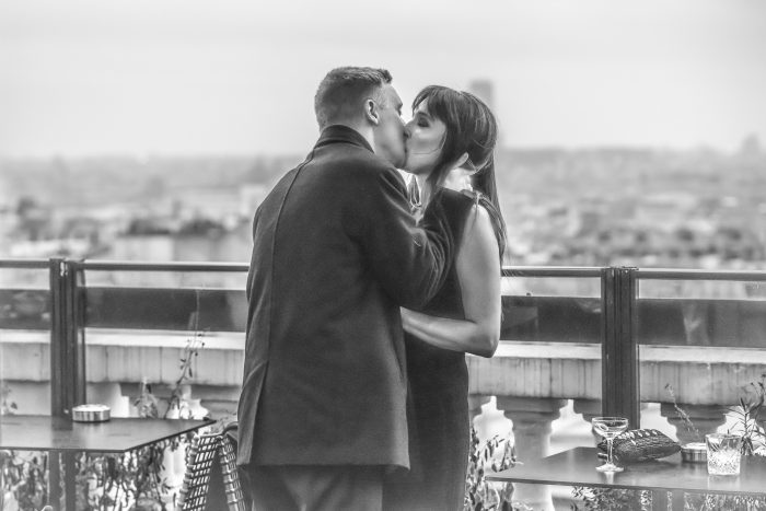 Riannon and Clinton's Engagement in Terrass Hotel rooftop in Paris