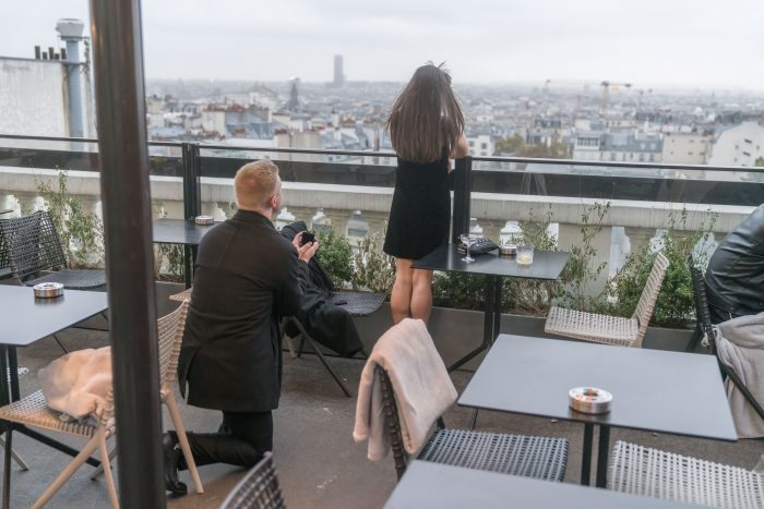 Marriage Proposal Ideas in Terrass Hotel rooftop in Paris