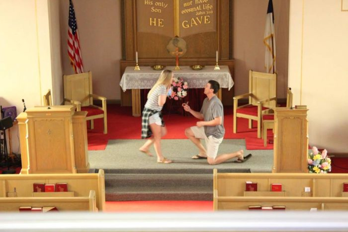Heather's Proposal in Bride's Late-Grandmother's church