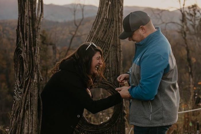 Engagement Proposal Ideas in The proposal was in Gatlinburg, TN in the Smoky Mountains atop a mountain.