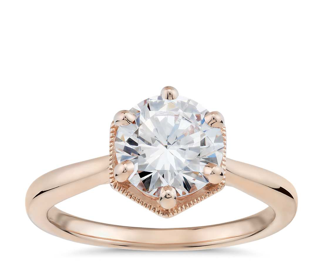 Hexagon Halo solitaire by blue nile