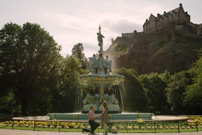 Suzanne's Proposal in Princes Street Gardens, Edinburgh, Scotland